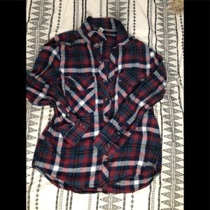 Navy blue, red and white Flannel